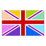 Rainbow British Flag Sticker (Rectangle 10 pk)