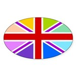 Rainbow British Flag Sticker (Oval 10 pk)