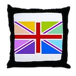 Rainbow British Flag Throw Pillow