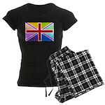 Rainbow British Flag Women's Dark Pajamas