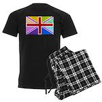 Rainbow British Flag Men's Dark Pajamas