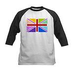 Rainbow British Flag Kids Baseball Jersey