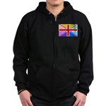 Rainbow British Flag Zip Hoodie (dark)