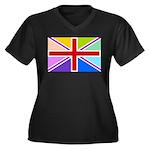 Rainbow British Flag Women's Plus Size V-Neck Dark