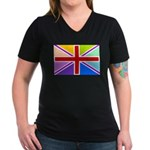 Rainbow British Flag Women's V-Neck Dark T-Shirt