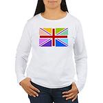 Rainbow British Flag Women's Long Sleeve T-Shirt