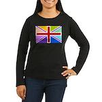 Rainbow British Flag Women's Long Sleeve Dark T-Sh