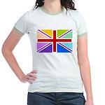Rainbow British Flag Jr. Ringer T-Shirt