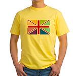 Rainbow British Flag Yellow T-Shirt