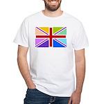 Rainbow British Flag White T-Shirt