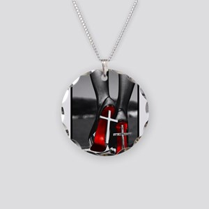 Red High Heels Necklace Circle Charm