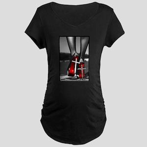 Red High Heels Maternity Dark T-Shirt