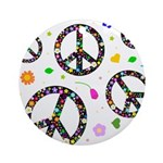 Peace symbols and flowers pat Ornament (Round)