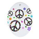 Peace symbols and flowers pat Ornament (Oval)