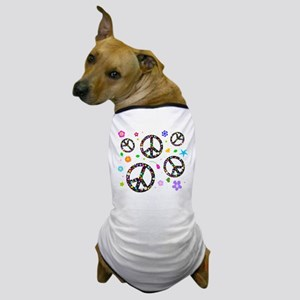 Peace symbols and flowers pat Dog T-Shirt