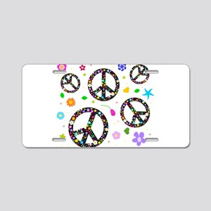 Peace symbols and flowers pat Aluminum License Pla