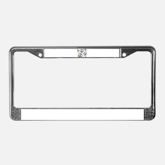Peace symbols and flowers pat License Plate Frame