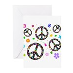 Peace symbols and flowers pat Greeting Cards (Pk o