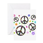 Peace symbols and flowers pat Greeting Card