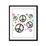 Peace symbols and flowers pat Framed Panel Print
