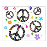 Peace symbols and flowers pat Small Poster