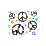 Peace symbols and flowers pat 38.5 x 24.5 Wall Pee