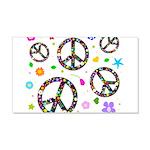 Peace symbols and flowers pat 22x14 Wall Peel
