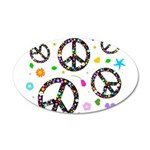 Peace symbols and flowers pat 38.5 x 24.5 Oval Wal