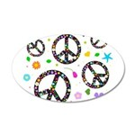 Peace symbols and flowers pat 22x14 Oval Wall Peel