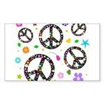Peace symbols and flowers pat Sticker (Rectangle 5