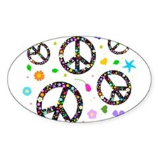 Peace symbols and flowers pat Sticker (Oval)