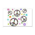 Peace symbols and flowers pat Car Magnet 20 x 12