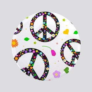 """Peace symbols and flowers pat 3.5"""" Button"""