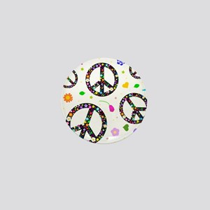 Peace symbols and flowers pat Mini Button