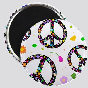 Peace symbols and flowers pat Magnet