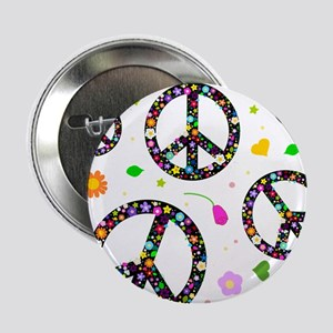 """Peace symbols and flowers pat 2.25"""" Button"""