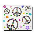 Peace symbols and flowers pat Mousepad