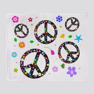 Peace symbols and flowers pat Throw Blanket