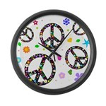 Peace symbols and flowers pat Large Wall Clock