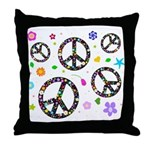 Peace symbols and flowers pat Throw Pillow