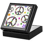Peace symbols and flowers pat Keepsake Box