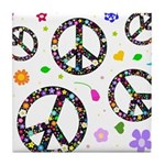 Peace symbols and flowers pat Tile Coaster