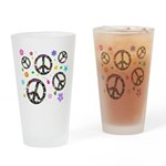 Peace symbols and flowers pat Drinking Glass