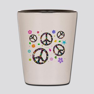 Peace symbols and flowers pat Shot Glass