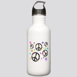 Peace symbols and flowers pat Stainless Water Bott