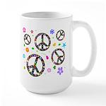 Peace symbols and flowers pat Large Mug