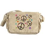 Peace symbols and flowers pat Messenger Bag
