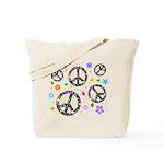 Peace symbols and flowers pat Tote Bag