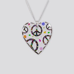 Peace symbols and flowers pat Necklace Heart Charm