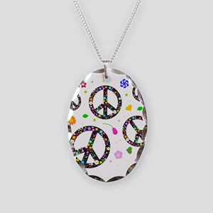 Peace symbols and flowers pat Necklace Oval Charm